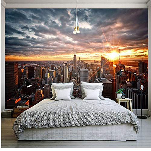 Tapete Wand Dekorationen Wandbilder Schöner New York City Sonnenuntergang Landschafts Art Background Dining Room Home Decor Kunst Kinder Zimmer (W) 300X(H) 210Cm ()