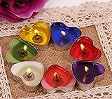 Ailiebhaus 50er herzförmige Kerzen, rauchfreie Teelichter, für Geburtstag, Vorschlag,Hochzeit,Party, Rot, Hochzeit Verlobung, Valentinstag (Rosa) - 7
