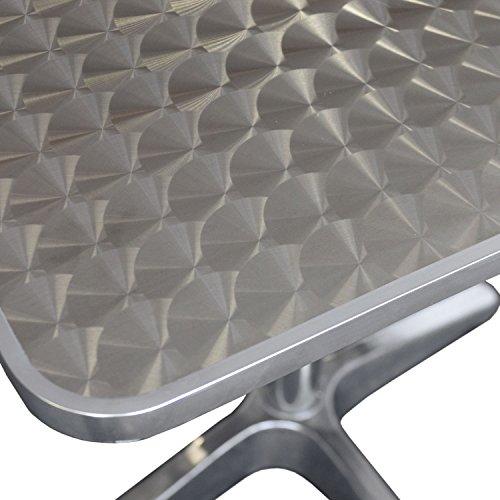 Wohaga® Bistrotisch, Aluminium, 60x60cm, 4er-Fuss, Tischplatte in Schleifoptik/Gartentisch Klapptisch Beistelltisch Balkontisch Gartenmöbel Balkonmöbel Terrassenmöbel