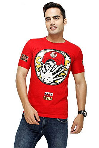 WWE Wrestlemania John Cena Printed Orange half sleeve T shirt for Men. You cant see me! Size L  available at amazon for Rs.499