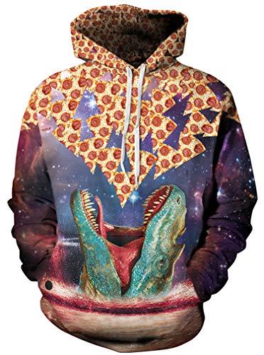 Ocean Plus Herren 3D Kapuzenpullover Hoodie Halloween Cosplay Sweatshirt Hooded Sweat Einzigartig Galaxie Pullover (S/M (Brustumfang: 112-132CM), Dinosaurier Pizza)