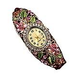 Yivise Reloj de Pulsera de Cuarzo con Brazalete de Flores de Cristal y Brazalete Mujer(E)