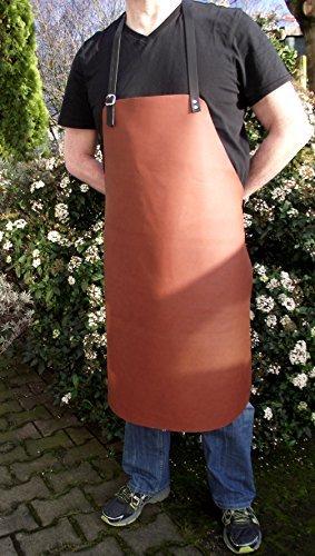 Premium echt Leder Grillschürze - Kochschürze - Lederschürze 70x90 cm - leicht gewölktes Leder in cognac braun mit verstellbaren Riemen.