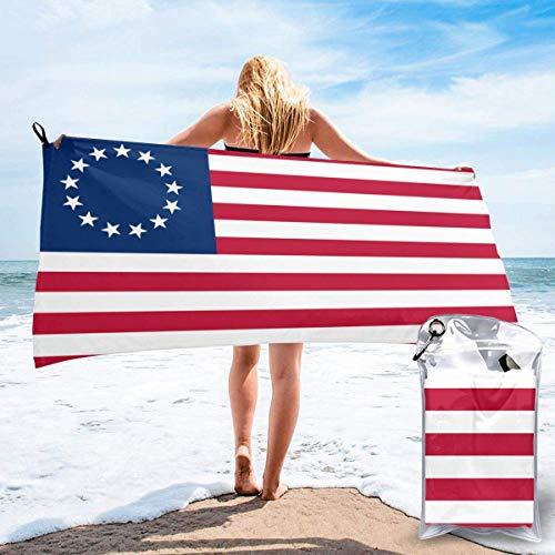 dingjiakemao Us-Flagge 13 Sterne Betsy Ross Beach Badetuch Schnell Trocknende Saugfähige Handtücher Für Camping, Rucksackreisen, Fitness, Sport Und Schwimmen 160 X 80 cm -