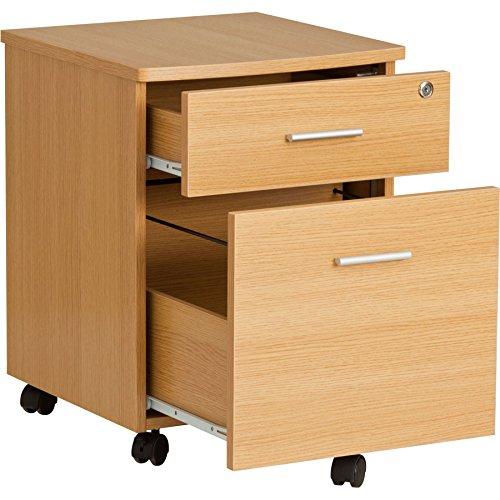 Zwei Schublade abschließbar A4 Hängeregister Ständer Schrank Passende Piranha Eiche Schreibtische und Home Office Möbel - Schleimfisch PC 10