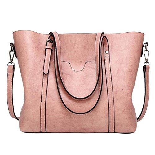 fashionladies Damen-Umhängetasche Schultertasche Tote Bucket Bag Messenger Bag mit innen Taschen Nützliche Organizer rose Size::32cm(L)*12cm(W)*29cm(H) (Handle Tote Bag)