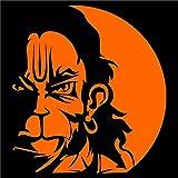 #5: God Hanuman face decal for car and bike orange 13x12cm