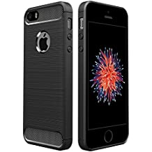 Funda iPhone SE/5S/5, Simpeak Funda Apple iPhone 5S/SE/5 carcasas para iPhone 5S/5 funda cases Suave TPU Anti deslizamiento, Negro