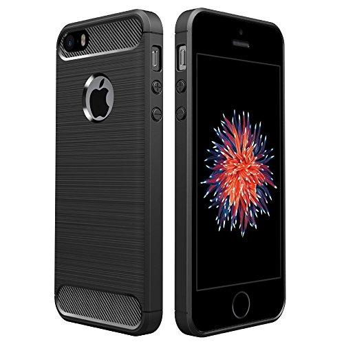 Simpeak Ersatz iPhone SE Hülle Schwarz, Premium Weiche Karbonfaser Elastisch Schützendes Rückseiten-Case Ersatz iPhone SE 5S 5[Fallschutz] [Rutschfest] [Kratzfest]