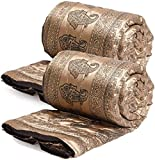 SHOPBITE Set of 2 Shiny Touch Brown Brown Color Single Bed Traditional Jaipuri