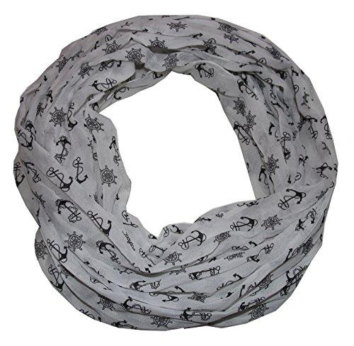 Anker Marine Damen Loop Schal aus hochwertiger Seide & Baumwolle (S weiß schwarz)