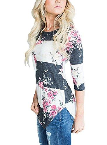 Walant Damen Langarmshirts Blumen T-shirt O-Ausschnitt Shirt Tops Bluse Weiß