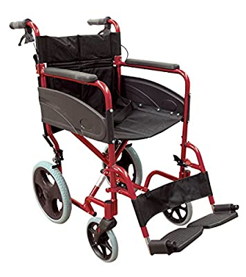 Aidapt Aluminium Super Lightweight Compact Transit Transport Chair with Footrests/Fold down backrest/Side Privacy Panel. Ideal for Days out will fold to fit in a car boot easily.