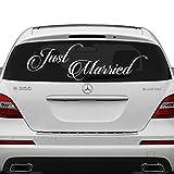 (50 x 17 cm) avec inscription 'Just Married' (en anglais) en vinyle voiture de mariage Inscription citation de film décoratif Autocollants pour vitres arrière de voiture de miroir en aléatoire cadeau inclus