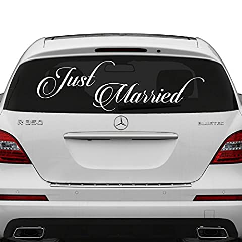 (90x31 cm) Just Married Vinyl Car Decal Design / Wedding Cling Banner Decoration Quote Sticker / Decals Back Car Window Mirror + Free Random Decal Gift