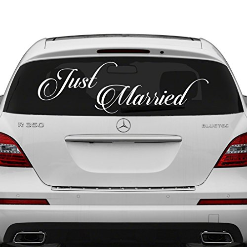 (80x28 cm) Just Married Vinyl Car Decal Design / Wedding Cling Banner Decoration Quote Sticker / Decals Back Car Window Mirror + Free Random Decal Gift - Quotes Inspirational Wand-aufkleber