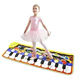Musical Piano Mat 19 Keys Piano Keyboard Playmat Portable Electronic Educational Musical Blanket Build-in Speaker & Recording Function for Kids Toddler Girls Boys (110 * 36cm)