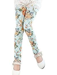 Covermason Niña Flor Impresión Leggings Elástico Pantalones para 2-13 AñosChicas