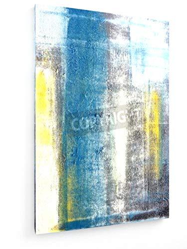 Carollynn TICE - Teal und gelbe abstrakte Kunst-Malerei - 20x30 cm - Leinwandbild auf Keilrahmen - Wand-Bild - Kunst, Gemälde, Foto, Bild auf Leinwand - Abstrakt - Grau-wand-kunst Teal