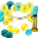 Easy Joy Party Dekoration Kit Blau Luftballons Gelb Papier Rosetten für 1 Jahr Geburtstag