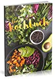 Dékokind Leeres Kochbuch: Für über 80 Lieblingsrezepte || Ca. A5 Softcover || Rezeptbuch zum Selbstgestalten / Selberschreiben mit Inhaltsverzeichnis || Motiv: Vegan Kochen