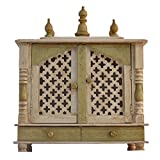 Jodhpur Handicrafts Wooden Temple with White Light (Multicolour)