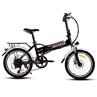 ANCHEER Folding Electric Bike with 36V 8AH Removable Lithium-Ion Battery with 250W Motor and Shimano 7 Speed Shifter