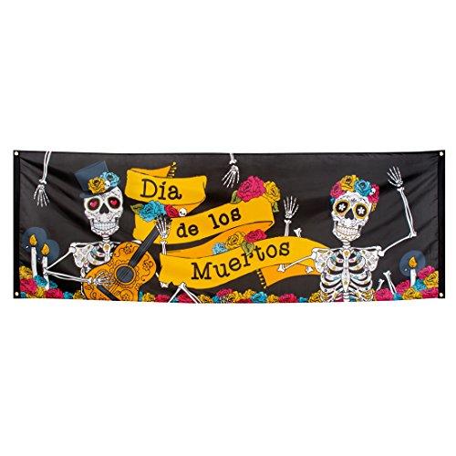 Tag der Toten - 74 x 220 cm - Partybanner Sugar Skull Transparent Totenfest Mexiko Halloween Textilbanner La Catrina Dekoration Mexikanische Totenmaske Partybanner Sugar Skull ()