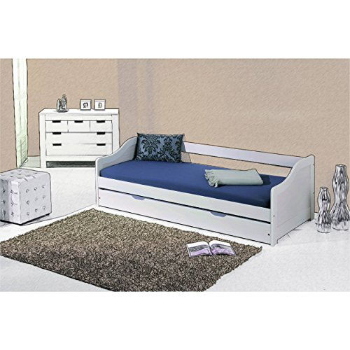 Massivholzbett Jugendbett 90x200 cm Kinderbett Bett Funktionsbett Kojenbett Ausziehbett in weiß mit ausziehbarer Bettkasten - 2