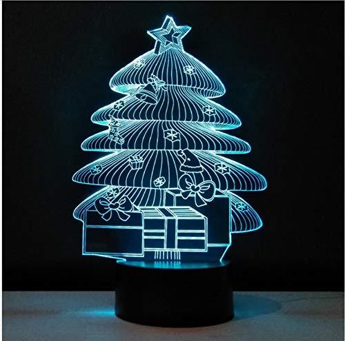 Weihnachtsbaum 3D Visuelle Led Nachtlicht 7 Farben Haushalt Lichter Usb Touch Switch Luminaria Gravierte Acryl Geschenke Tabelle Lampe