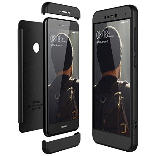 für Huawei P8 Lite 2017 Hülle, Handyhülle 3 in 1 Ultra-dünne Anti-Kratzer Hard PC case Covers mit Stoßfänger Anti-Rutsch Matt für P8 lite 5.2 Zoll Case Cover (Schwarz, P8 Lite 2017) - Matte Black Outdoor Post