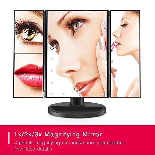 CocoBear Make-up Kosmetikspiegel mit 3x / 2x Vergrößerung, Dreimaliger Spiegel mit 21 LED-Leuchten, Touchscreen, 180째 Einstellbare Rotation, Dual-Netzteil, Countertop Kosmetikspiegel