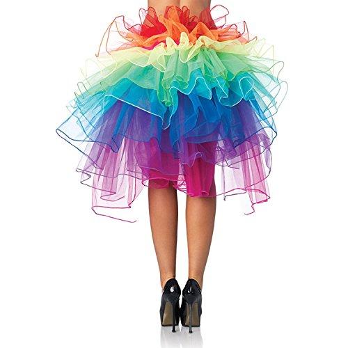 Jastore ®Damen Regenbogen Röckchen krasse Tütü Cosplay Karnevalskostüm Tüllrock Partykleid Rock geschicht Tüll (Regenbogen)