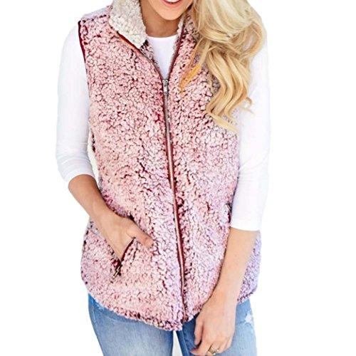 Double Wrap Bluse (Bellelove Damen Weste Winter Warm Outwear Lässig Kunstpelz Zip Up Sherpa Jacke (Rosa, M))