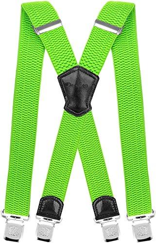 Decalen Hosenträger für Herren Breit 4 cm mit sehr Starken 4 Metall Clip Lang Einheitsgröße für Männer und Damen Einstellbar und Elastisch X Style (Grünes Neon)