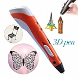 REES52 3D Printing Pen, orange, included 3 Pieces filaments- 1.75mm