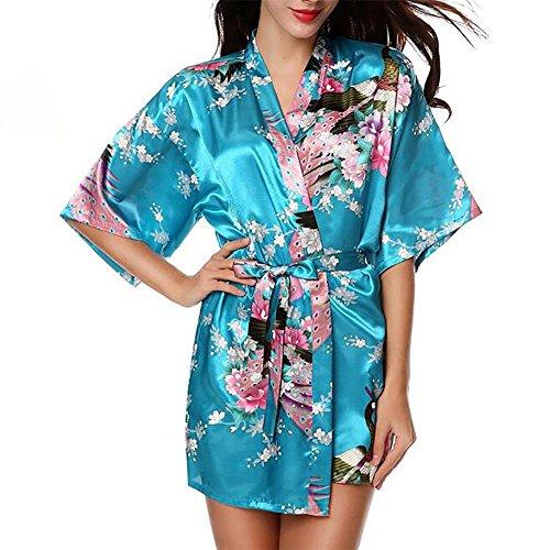 HXQ Damen Bademäntel Brautjungfer Pfau Kurz Kimono Robe Satin Seide Nachtwäsche , pink Blue
