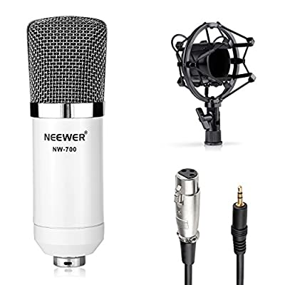 Neewer® NW-700 Microphone Kit, Includes: (1)Professional Studio Broadcasting & Recording Condenser Microphone + (1)Shock Mount + (1)Ball-type Anti-wind Foam Cap + (1)Audio Cable (White)