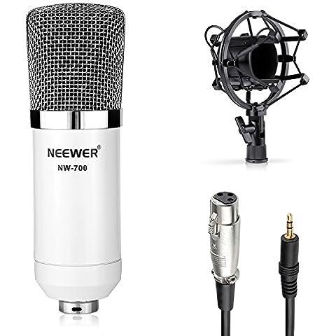 Neewer® Kit de micrófono de NW-700, incluye: (1) micrófono de condensador de estudio profesional + (1) montura antivibratoria + (1) cubierta de espuma antiviento tipo bola + (1) Cable de Audio (blanco)