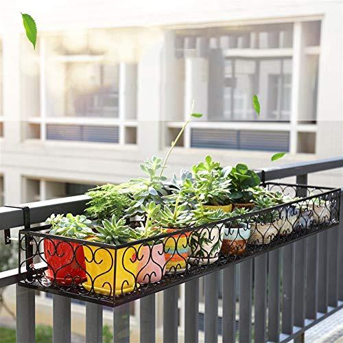 Appeso balcone ringhiera Flower Pot Stand pianta in metallo Stand Holder Plant Display Rack per giardino Patio esterno Deck PNYGJKHJ (Size : 120×25×12cm)