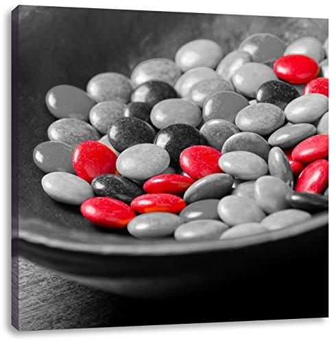 Pixxprint Schokolade Smarties Schoko Süßigkeiten schwarz/weiß, Format: 70x70 auf Leinwand -