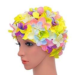 medifier Vintage Blumenmuster Retro Badekappe Badehaube für Damen, merhfarbig