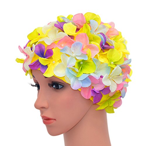 Medifier vintage floreale petalo retro swim bathing caps per donne, multi-color