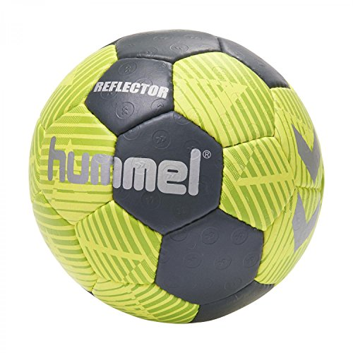 Hummel Handball Größe 0, 1, 2 oder 3 für Spiel & Training - REFLECTOR HB - Harz Trainingsball Freizeit & Sport - Hand Ball in Gelb & Blau mit Air-Trap-Ventil, Safety Yellow/Blue Night, 3