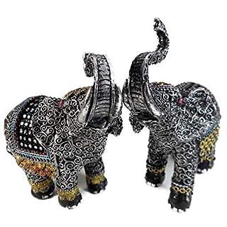 2er Set Elefant mit Glitzersteinchen 12 x 15 cm Afrika Tier Figur Deko GIK 6330