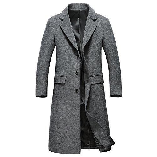 Insun Herren Lange Mäntel 3 Knopf Einreiher Winter Mantel Slim Fit Windbreaker Grau EU L Mäntel Für Männer Unten