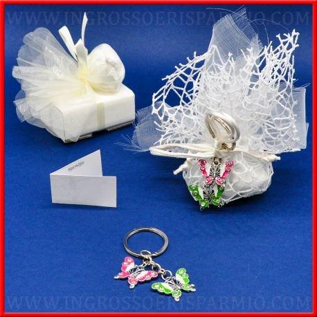 Schlüsselanhänger aus Metall mit zwei Schmetterlingen in Pink und Grün, verziert mit Strass auf den Flügeln, Haken aus Metall, geeignet als Gastgeschenk kit 12 pz. rosa in ()