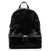 FIRENZE ARTEGIANI Genuine Leather Woman Backpack. Genuine Leather Daypack Backpack Crocodile Engraved Lacquered. Woman Backpack Made in Italy.Genuine Italian Leather 32x35x17 cm. Colour: Black