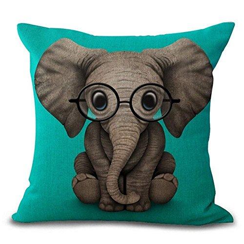 LanKa DreamCase Kissenbezug, Motiv Elefant mit Brille, Baumwollleinen, 45,7 x 45,7 cm (Elefant)