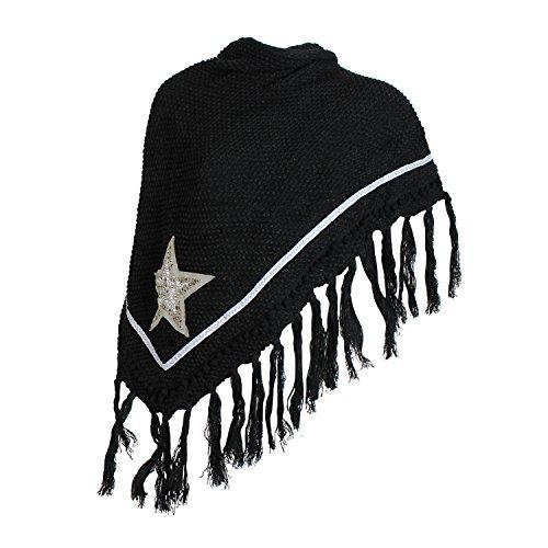 STARLET Schöne und warme Damen Poncho XXL Schal mit ein sehr schoen Stern Muster Schal auch als Poncho 15028